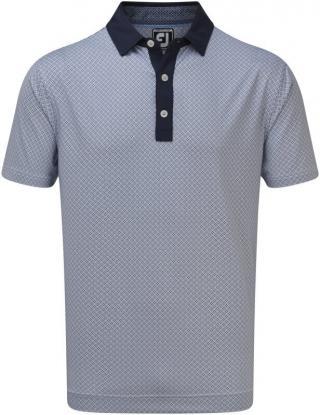 Footjoy Lisle Foulard Print Mens Polo Shirt Navy/White S pánské Blue S