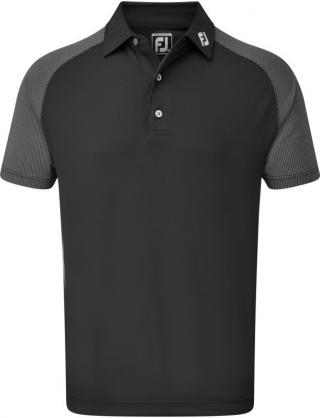 Footjoy Raglan Jacquard Block Mens Polo Shirt Black XL pánské XL