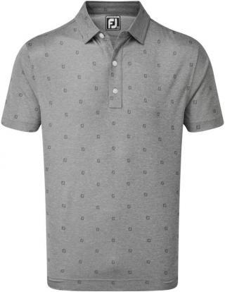 Footjoy Smooth Pique FJ Tonal Print Mens Polo Shirt Coal L pánské Grey L