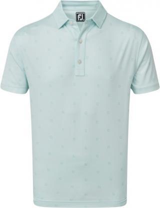 Footjoy Smooth Pique FJ Tonal Print Mens Polo Shirt Ice Blue M pánské M