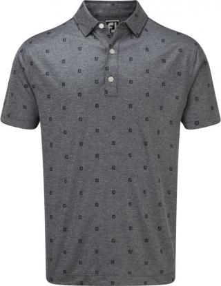 Footjoy Smooth Pique FJ Tonal Print Mens Polo Shirt Navy L pánské Blue L