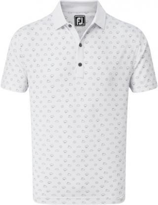 Footjoy Smooth Pique Weather Print Mens Polo Shirt White M pánské M