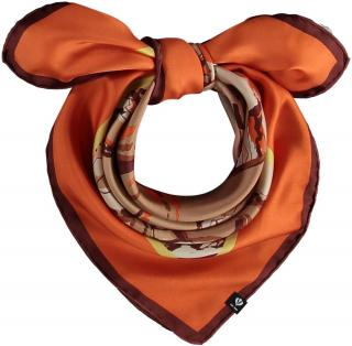 Fraas Dámský hedvábný čtvercový šátek Pegasus 624016 - oranžový oranžová