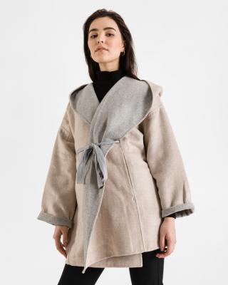 French Connection Daralicia Wool Kabát Šedá Béžová dámské S