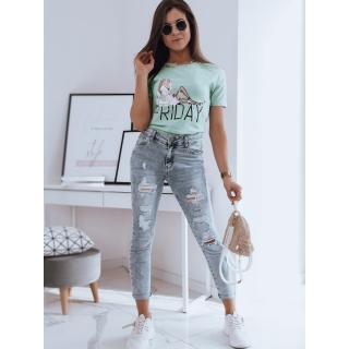 FRIDAY womens T-shirt green Dstreet RY1678 dámské Neurčeno S