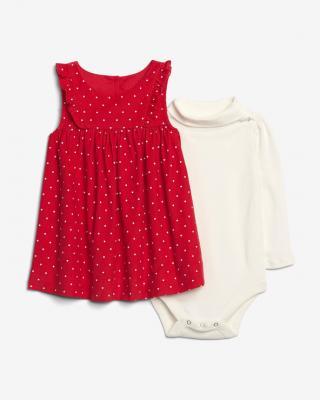 GAP Šaty dětské Červená Bílá dámské 18-24 měsíců