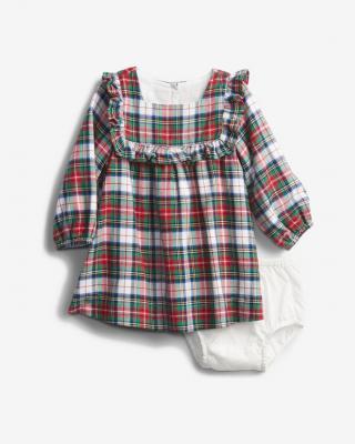 GAP Šaty dětské Zelená Červená dámské 6-12 měsíců