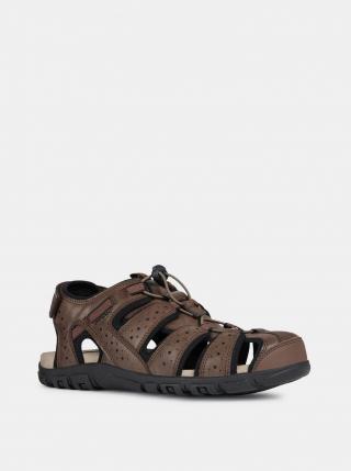 Geox hnědé kožené pánské sandály - 41 pánské hnědá 41