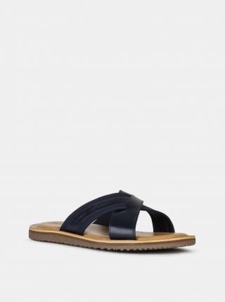 Geox modré pánské kožené pantofle - 41 pánské modrá 41