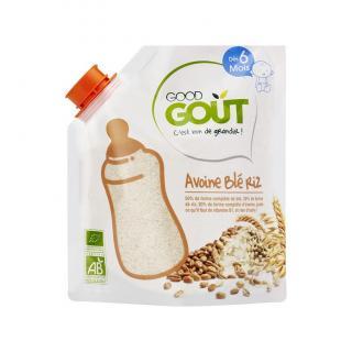GOOD GOUT BIO Dětská ovesná, pšeničná a rýžová instantní kaše v prášku 200 g béžová