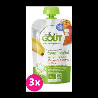 GOOD GOUT BIO Kokosový jogurt s mangem, banánem a marakujou 3x90 g zelená