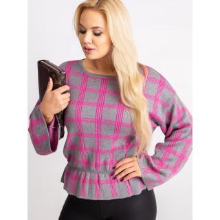 Gray and pink checkered plus size sweater RUE PARIS dámské Neurčeno XL