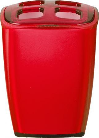 GRUND Kelímek na kartáčky NEON červený 7x6,5x10 cm