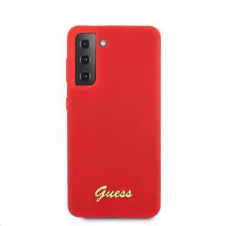 Guess Metal Logo Script silikonový kryt GUHCS21SLSLMGRE pro Samsung Galaxy S21, červená