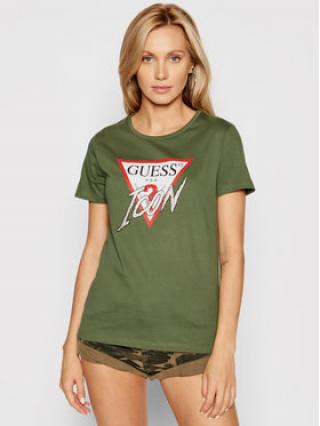 Guess T-Shirt Icon W1YI0Y I3Z00 Zelená Regular Fit dámské L