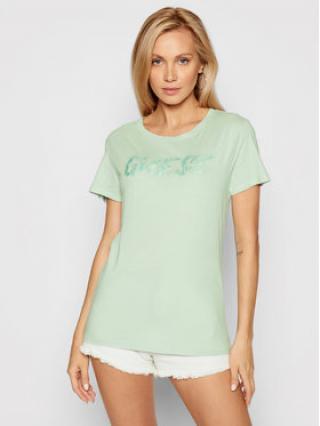Guess T-Shirt Pool Reflection Logo W1YI45 RA0Q0 Zelená Regular Fit dámské S