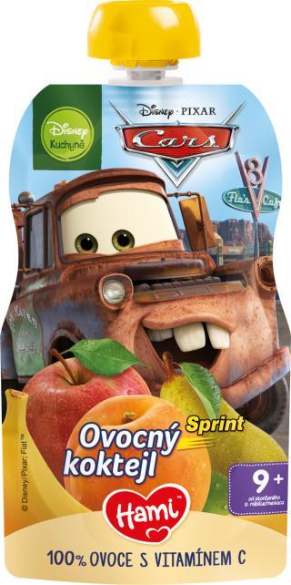 HAMI Disney Cars ovocná kapsička Sprint Ovocný koktejl 110 g, 9