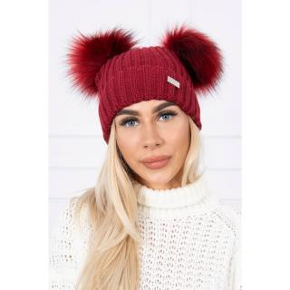 Hat with double pom pom burgundy dámské Neurčeno One size