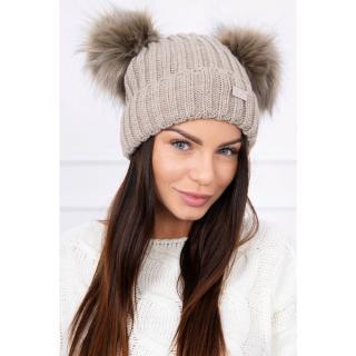 Hat with double pom pom dark beige dámské Neurčeno One size
