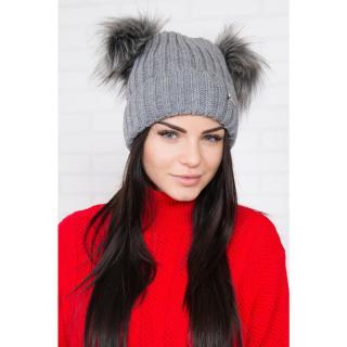Hat with double pom pom dark gray dámské Neurčeno One size