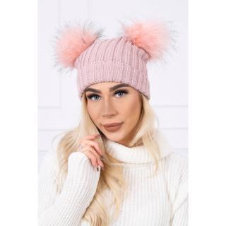 Hat with double pom pom dark powdered pink dámské Neurčeno One size
