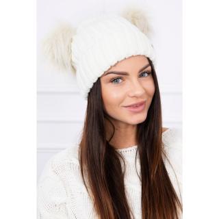 Hat with double pom pom ecru dámské Neurčeno One size