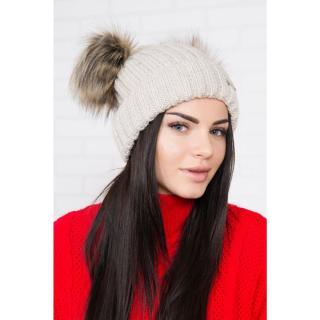 Hat with double pom pom light beige dámské Neurčeno One size