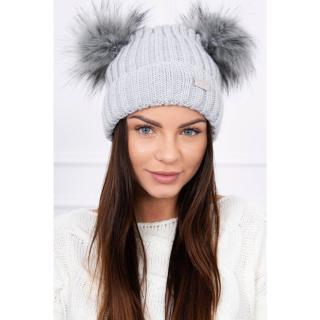 Hat with double pom pom light gray dámské Neurčeno One size