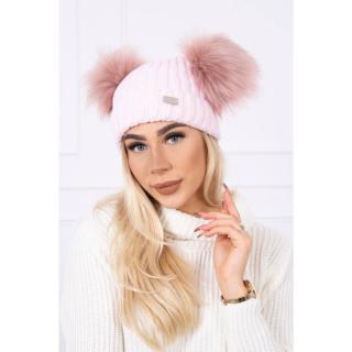 Hat with double pom pom light powdered pink dámské Neurčeno One size