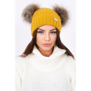 Hat with double pom pom mustard dámské Neurčeno One size