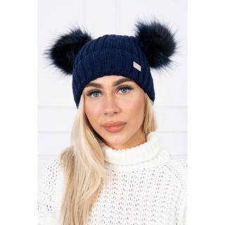 Hat with double pom pom navy blue dámské Neurčeno One size