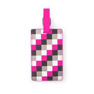 Heys Jmenovka na kufr Pink Check růžová