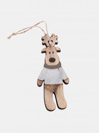 Hnědá dřevěná závěsná vánoční dekorace Dakls