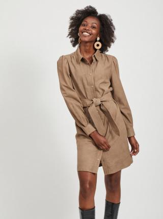 Hnědé kožené košilové šaty .OBJECT dámské hnědá M