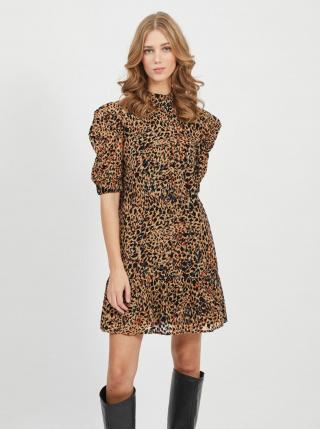 Hnědé šaty s leopardím vzorem .OBJECT dámské hnědá L