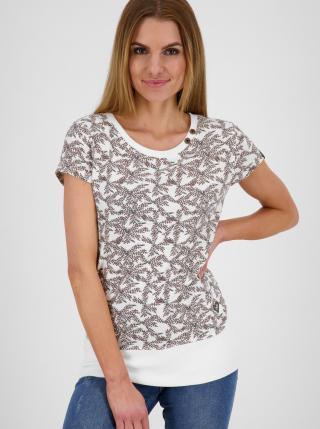 Hnědo-bílé dámské vzorované dlouhé tričko Alife and Kickin dámské bílá L