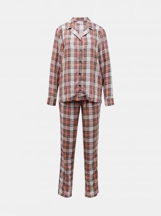 Hnědo-růžové dámské kostkované pyžamo Tommy Hilfiger Holiday dámské růžová S
