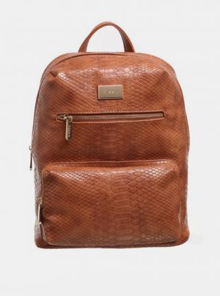 Hnědý batoh s krokodýlím vzorem Bessie London dámské hnědá