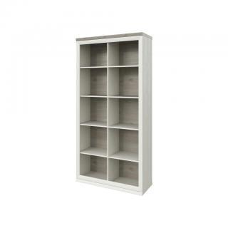 Hom`in KNIHOVNA, šedá, barvy borovice, 100/209/43 cm - šedá, barvy borovice 100/209/43