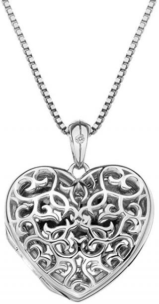 Hot Diamonds Přívěsek Hot Diamonds Small Heart Filigree Locket DP671