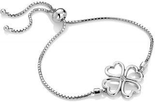 Hot Diamonds Stříbrný čtyřlístkový náramek s diamantem Lucky in Love DL603 dámské