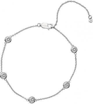 Hot Diamonds Stříbrný náramek s topazy a pravým diamantem Willow DL580 dámské
