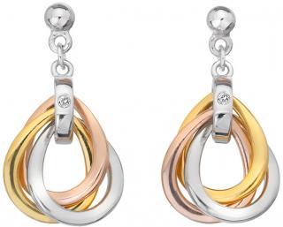 Hot Diamonds Tricolor náušnice ze stříbra s diamanty Trio DE645 dámské