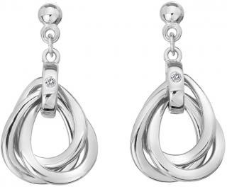 Hot Diamonds Úžasné stříbrné náušnice s diamanty Trio DE644 dámské