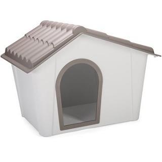IMAC Bouda pro psa plastová - šedá/hnědá - D 98,5 77,5×V 72,5 cm