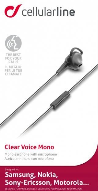 In-ear sluchátko Cellularline Clear Voice Mono, 3,5 mm jack, černá