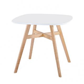 Jídelní stůl, bílá/přírodní, DEJAN 2 NEW