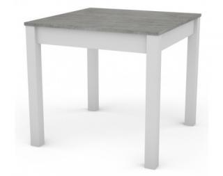 Jídelní stůl David 80x80 cm, bílý/šedý beton Bílá