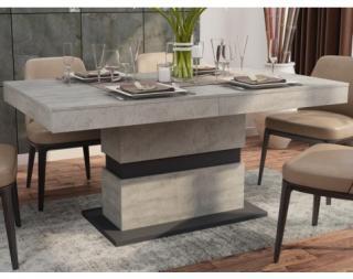 Jídelní stůl Nestor 160x90 cm, beton/grafit, rozkládací Šedá