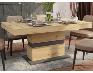 Jídelní stůl Nestor 160x90 cm, dub artisan/grafit, rozkládací